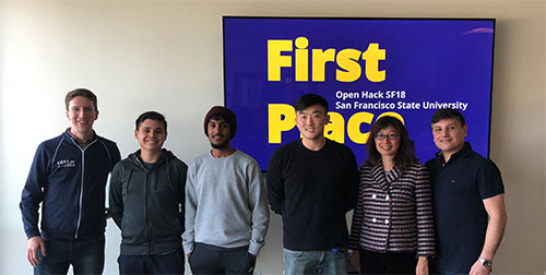 Steven Wong, Jason Wei, Abdi Mohamud, Veronika Veres, Adam Villarreal First Place Open Hack SF18