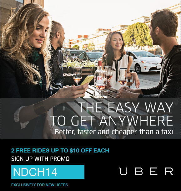 UBER - The easy way to get anywhere 2 free ride promo NDCH14