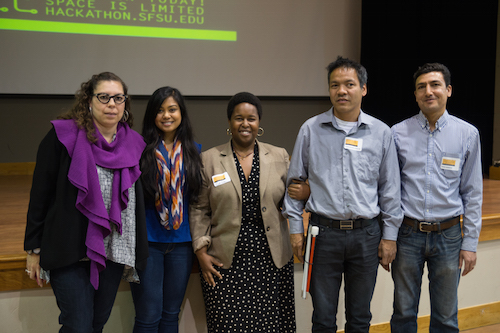 Judges for SF Day of Civic Hacking 2015 - Maria Navarro, Chandni Kazi, Carla Mays,Jennison Mark AsuncionHamid Mahmoodi
