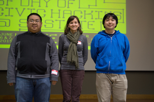 3rd prize winner Ted Fujimoto, Jane Huston and Tony Trieu